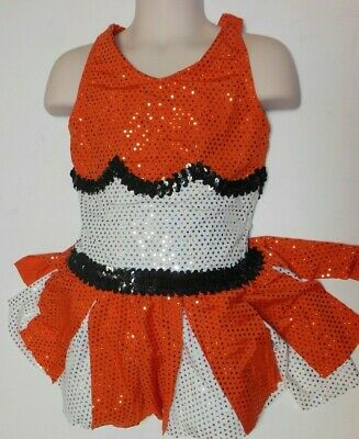 New FAUX SEQUIN SKIRT White Orange Blue Girls 6x-7 Int Wolff Fording cheer