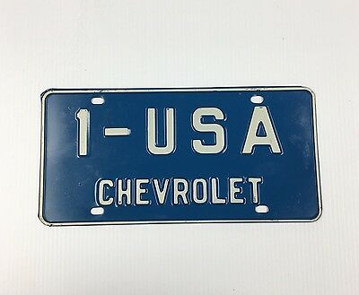 Vintage Blue Chevrolet 1 - USA  Original Dealer License Plate 1-USA 1 - U.S.A.