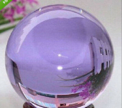 40mm+Stand Rare Magic Purple Crystal Healing Ball Sphere With Removable Base AA1