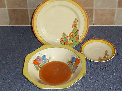 Bizarre By Clarice Cliff    Collection Plate , Bowl , Saucer, Crocus , Sunshine