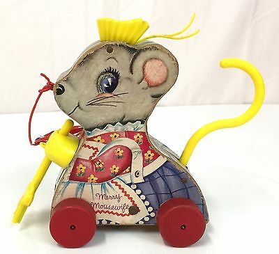 Vintage Fisher Price MERRY MOUSEWIFE Wood Pull Toy Wooden Mouse Broom
