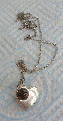 Vintage Small Heart Pendant And Chain Set With Tiger Eye Stone