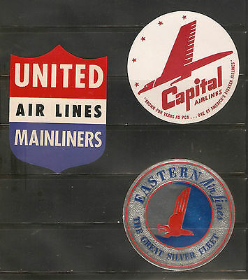 for sale, 3 vintage Airline luggage labels from the United States.