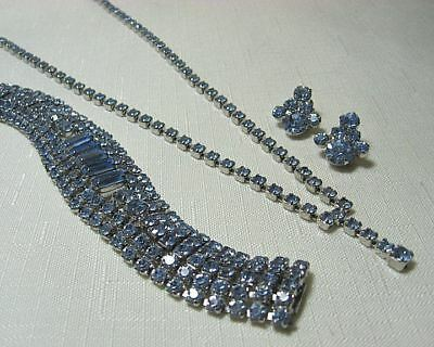 Blue Rhinestone Necklace Bracelet Earrings   Bright and Clear Sets