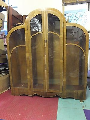 Vintage Original Art Deco Large Wooden CLOUD Display Cabinet Cupboard