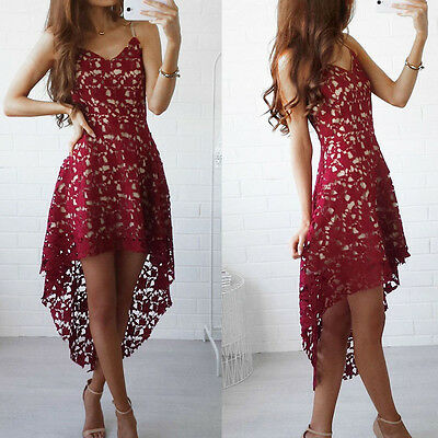 Womens Floral Lace Dress Party Cocktail Swing Dresses Summer Beach Red Sundress