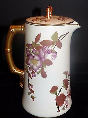 1888 Royal Worcester Blush Coffee Chocolate Tea Pot Gold Hand Painted Floral
