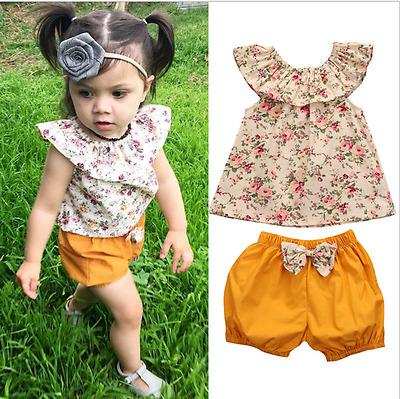 2pcs Newborn Baby Girls Floral Sleeveless Blouse Tops + Shorts Set Kids Clothes