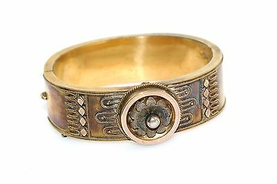 Victorian Etruscan Wide Yellow Gold Filled Hinged Bangle Bracelet