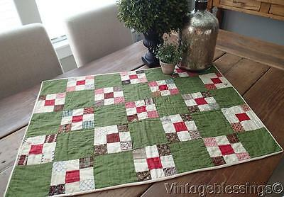 "Wonderful EARLY Prints ANTIQUE Green Crib or Table QUILT 31x22"" #2"