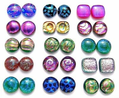 Lot 30 pcs round square handmade DICHROIC earrings FUSED GLASS (K9) CABOCHON
