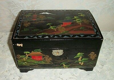 Vintage Japan Hand Painted Black Lacquered Mother Of Pearl Jewelry Music Box