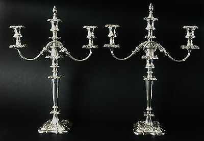 Pair of Very Large Victorian Silver Plated Candelabra - Complete With Snuffers