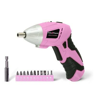Pink Power PP481 4.8V Cordless Electric Screwdriver Kit with Charge and Bit Set
