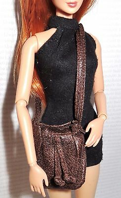 Purse ~ Barbie Doll Look City Chic Faux Brown Leather Bag Accessory For Diorama