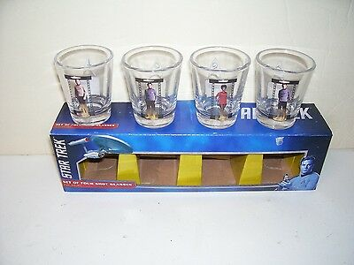 Star Trek Set of Four Shot Glasses 4 Different Characters Mint in Box