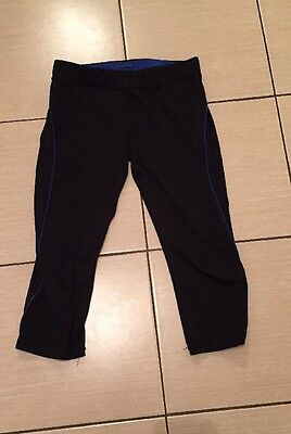 Ladies Black and Blue Tight Cropped Running Bottoms Size 10