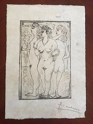 Original Pen Ink Drawing Signed Picasso Pencil Nude 3 Graces Modern Like Etching