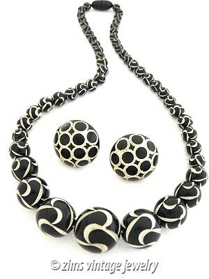 Vintage ART DECO Black white enamel Polka Dot swirl celluloid NECKLACE Earrings