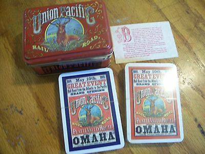 Union Pacific Railroad Playing Cards w/ tin RR railroad Playing Cards NEW