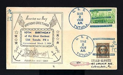 5828-CHINA-USA-Military NAVY ZEPPELIN COVER CHINESE USS.TUTUILA.1938.WWII.CHINE