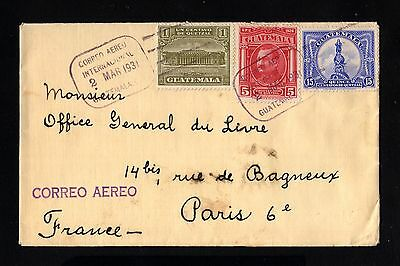 16154-GUATEMALA-AIRMAIL COVER GUATEMALA to PARIS (france) 1931.WWII.