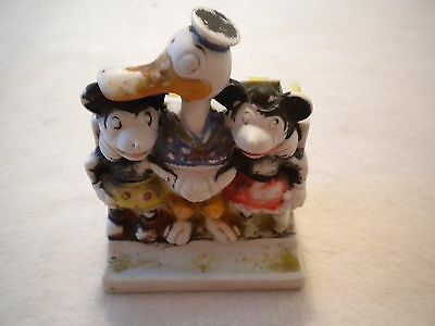 VTG 1930s Bisque Disney Donald Duck Mickey & Minnie Mouse Toothbrush Holder..t-1