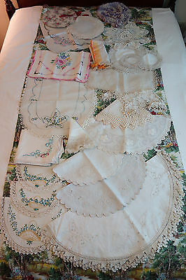 Lot of Beautiful Hand Embroidered Crocheted Table Runners Doilies White Work
