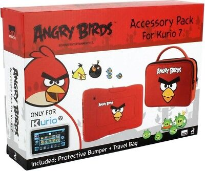 Meroncourt Kurio 7 Angry Birds Skin Bumper And Travel Bag Accessory Pack, Red