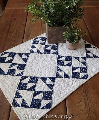 Antique c1880 Indigo Blue & White Doll or Farmhouse Table QUILT 23x18""
