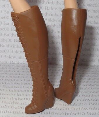 Shoes ~ Mattel Barbie Doll Look City Chic Brown Faux Lace Below The Knee Boots