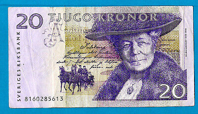Sweden P63a(2) 20 Kronor SELMA LAGERLOF & NILS HOLGERSONS 1998 aXF+ SCARCE