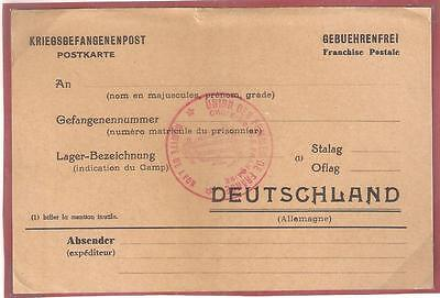 14141 FRANCE WWII POW unused card to Germany with RED CROSS cachet