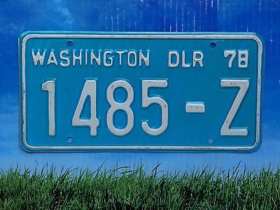 1978 Washington Dealer License Plate 1485 Z DLR