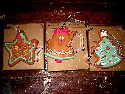 Avon Cookie Cutter Cuties Christmas Ornament Set: 3 In Boxes:brand New
