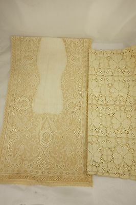 Lot of 2 Antique Ecru Lace Table Runners