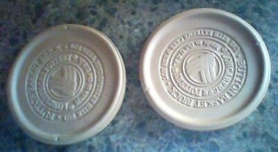 """2 Longaberger Pottery Button basket weave brick 5 3/4"""" round stone made in USA"""