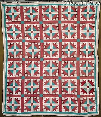 """Nice! Vintage 30s Red White Green Goose Tracks QUILT 76"""" x 64"""""""