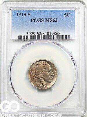 1915-S PCGS Buffalo Nickel PCGS MS 62 ** Scarce Key Date San Francisco Issue!