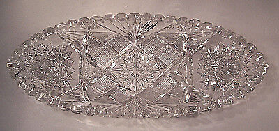 American Brilliant Period ABP cut glass oval celery dish in excellent condition