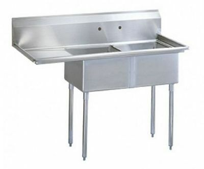 """2 Compartment Sink,18"""" Left drainboard, 304 S/S, Arc Stainless Model S2-1818-18L"""