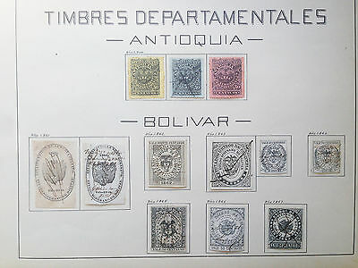 D912 Colombia Antioquia & Bolivar. 2 Sheets From Old Revenues Collection.