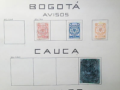 D917 Colombia Bogota & Cauca. Sheet From Old Revenues Collection.