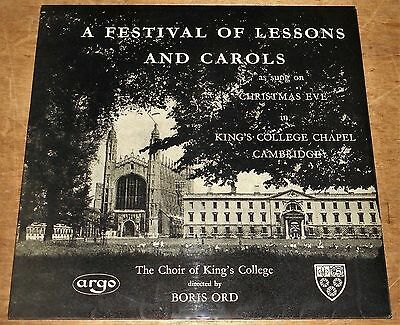 KINGS COLLEGE CHOIR : Festival Of Lessons & Carols - Argo LP oval/grooved labels