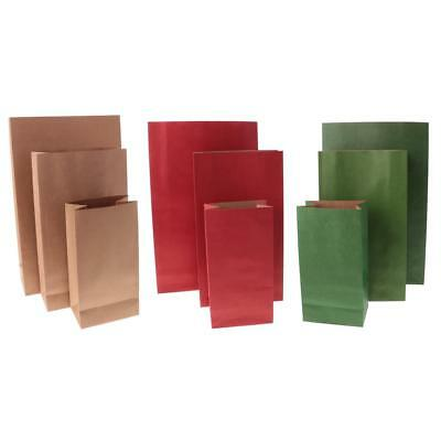 10x Kraft Paper Block Bottom Bags Candy Buffet Flat Notion Treat Bags Gift Favor