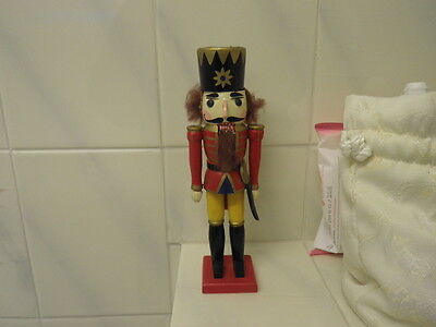 """Old Wooden Hand-painted Novelty Nutcracker Soldier with Sabre 8"""" Tall"""