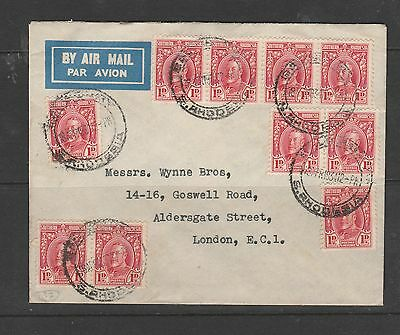 Southern Rhodesia 1931 Cover to England, 10 x 1d GV, Quite neat