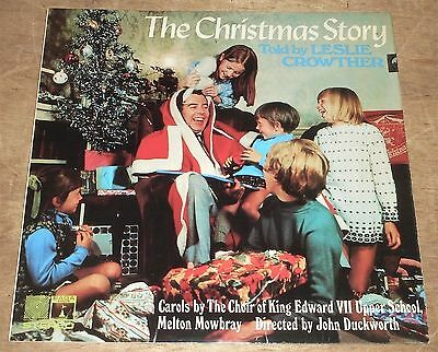 THE CHRISTMAS STORY told by LESLIE CROWTHER w/CHOIR : rare Saga 1969 stereo LP