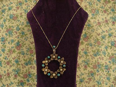 Beautiful Antique Art Nouveau; Turquoise Gems,Seed Pearls Floral Garland Pendant
