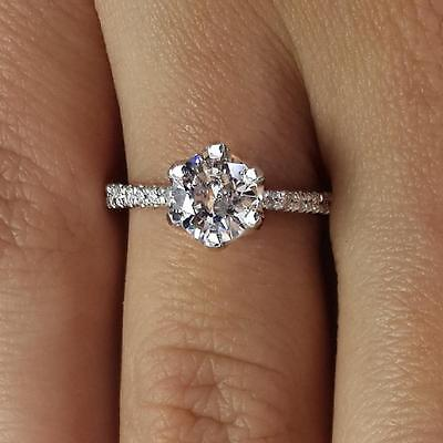 1.55 Ct Round Cut D Si1 Diamond Solitaire Engagement Ring 18K White Gold